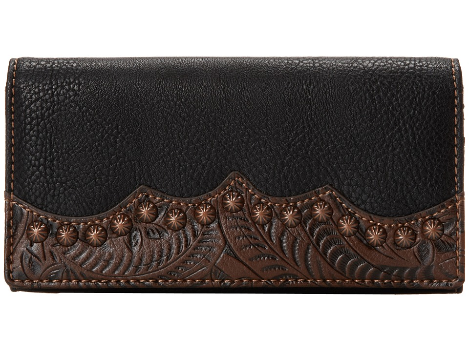 American West - Jackson Hole Flap Wallet (Black/Embossed Brown) Wallet Handbags