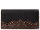American West Jackson Hole Flap Wallet (Black/Embossed Brown)