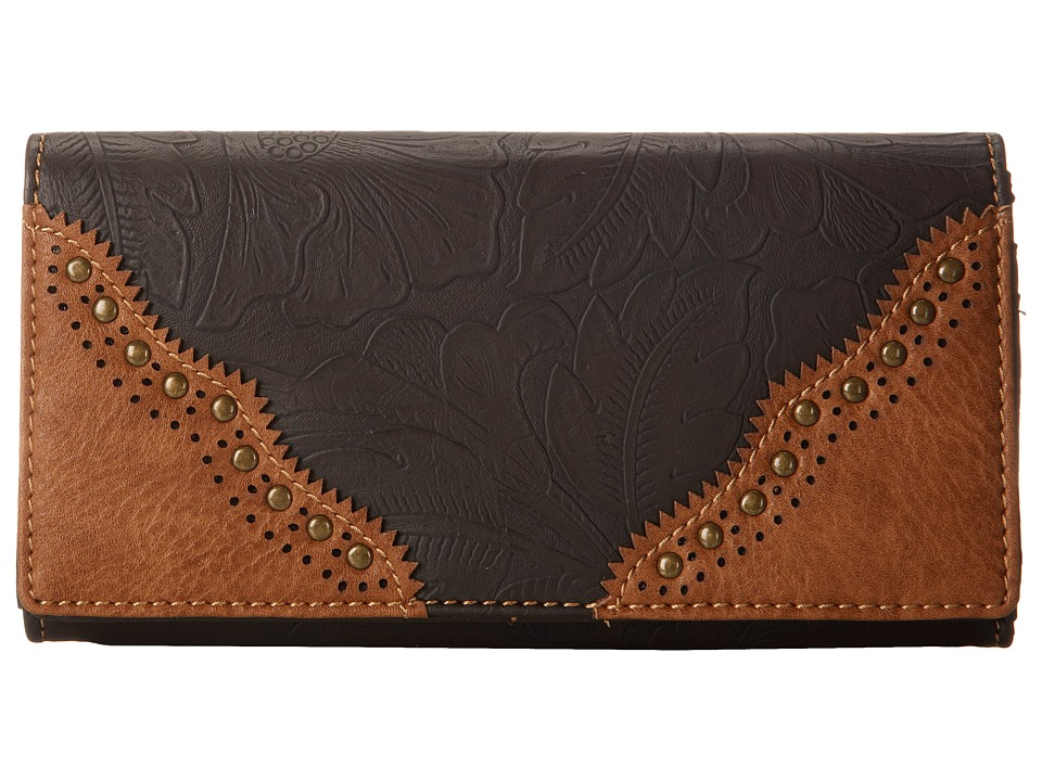 American West - Castle Rock Flap Wallet (Chocolate/Tan) Wallet Handbags