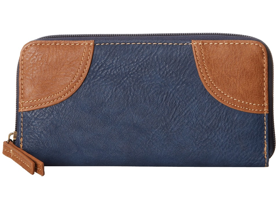 American West - Guns and Roses Zip Around Wallet (Navy Blue/Tan) Wallet Handbags