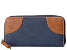 American West Guns and Roses Zip Around Wallet (Navy Blue/Tan)