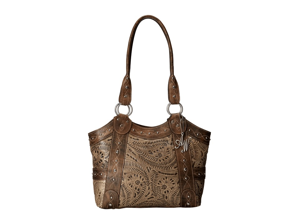 American West - Over The Rainbow Zip Top Fashion Tote (Distressed Charcoal Brown/Stone) Tote Handbags