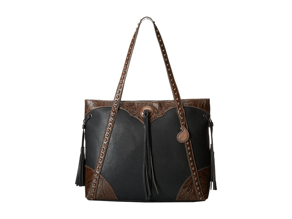 American West - Jackson Hole Large Shopper Tote (Black/Embossed Brown) Tote Handbags