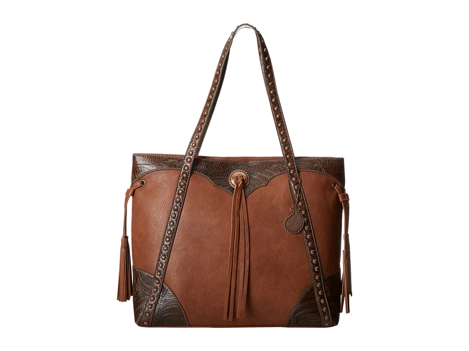 American West - Jackson Hole Large Shopper Tote (Tan/Embossed Brown) Tote Handbags