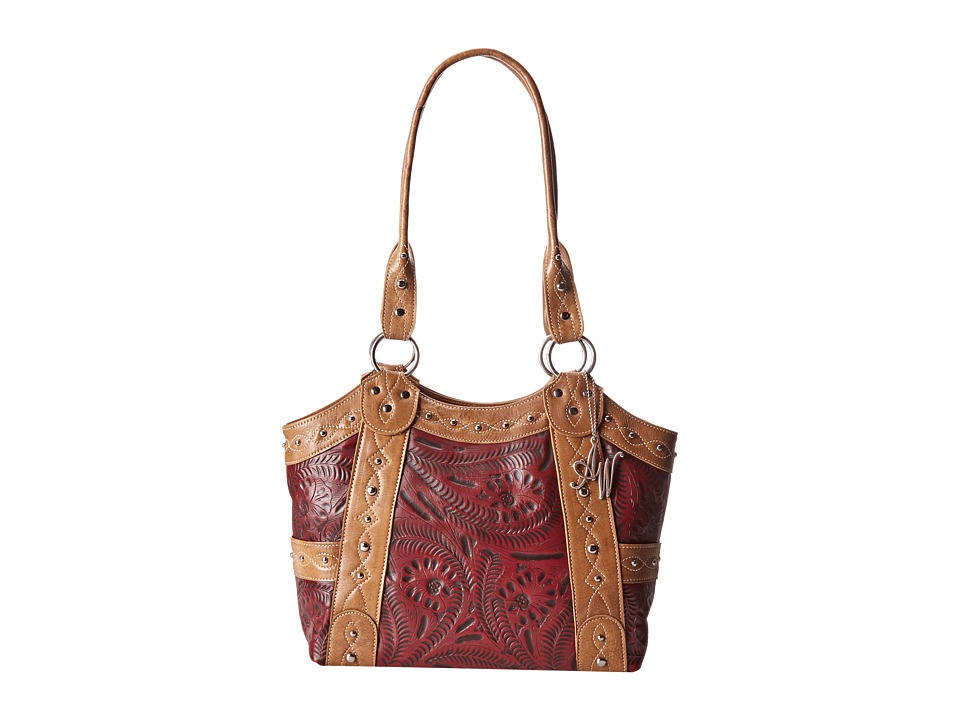 American West - Over The Rainbow Zip Top Fashion Tote (Tan/Pomegranate) Tote Handbags