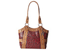 American West Over The Rainbow Zip Top Fashion Tote (Tan/Pomegranate)