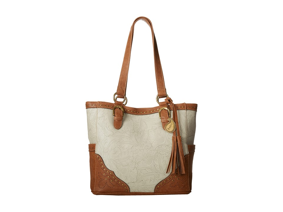 American West - Castle Rock 3-Compartment Tote (Cream/Tan) Tote Handbags