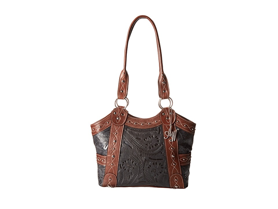 American West - Over The Rainbow Zip Top Fashion Tote (Antique Brown/Steel Blue) Tote Handbags