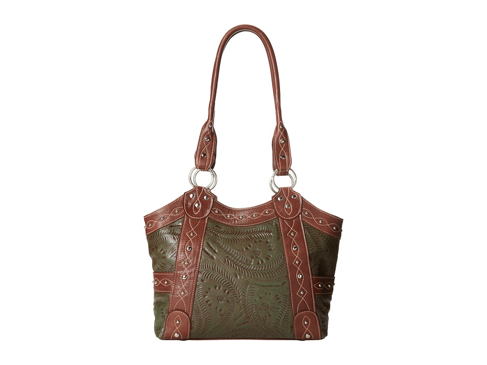 American West - Over The Rainbow Zip Top Fashion Tote (Antique Brown/Olive Green) Tote Handbags