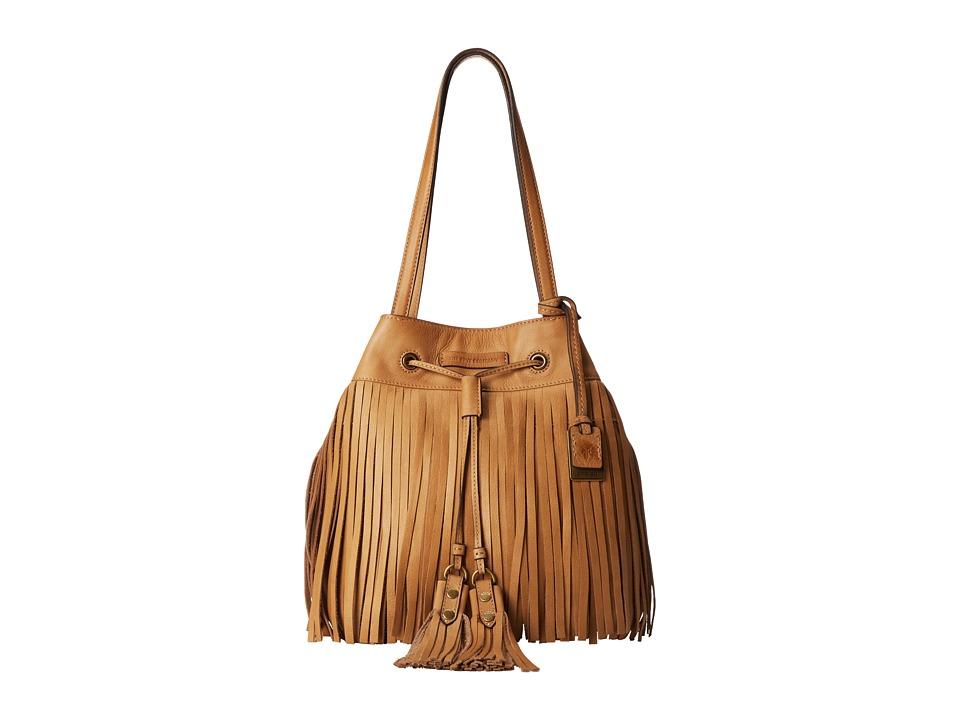 Frye - Heidi Fringe Bucket (Beige Soft Vintage Leather) Shoulder Handbags