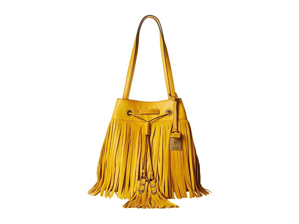 Frye - Heidi Fringe Bucket (Lemon Soft Vintage Leather) Shoulder Handbags