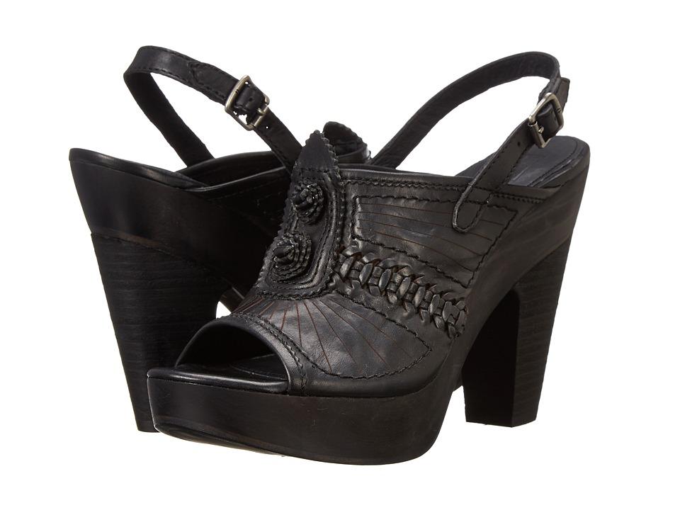 Frye - Anya Concho Sling (Black Smooth Vintage Leather) High Heels