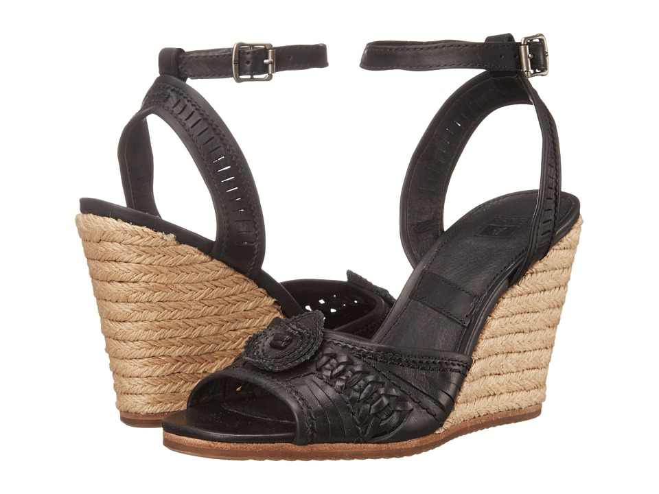 Frye Patricia Concho Wedge Black Smooth Vintage Leather Womens Wedge Shoes