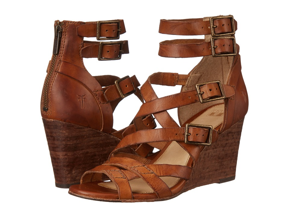 Frye Rain Strappy Wedge Brown Washed Smooth Vintage Womens Wedge Shoes