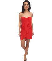LAUREN Ralph Lauren - Draped Solid Wrap Strapless Dress w/ Molded Cup Cover-Up