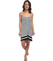 LAUREN Ralph Lauren - Draped Stripe Wrap Strapless Dress w/ Molded Cup Cover-Up