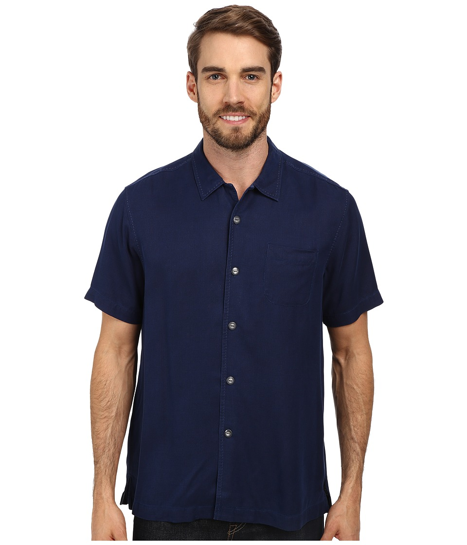 Tommy Bahama - Island Modern Fit Hamilton SS Camp Shirt Navy 1 Mens Short Sleeve Button Up $110.00 AT vintagedancer.com