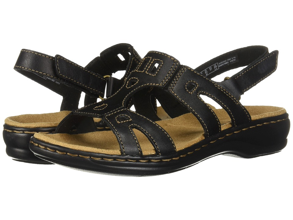 Clarks Leisa Annual (Black Leather) Sandals