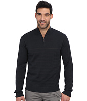 Perry Ellis - Solid Stripe Quarter Zip Sweater