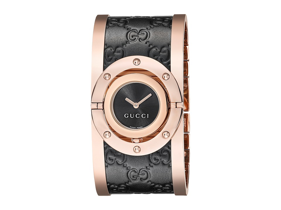 Gucci - Twirl Black Rose PVD Black Calf GG Leather (Black/Pink Gold) Watches