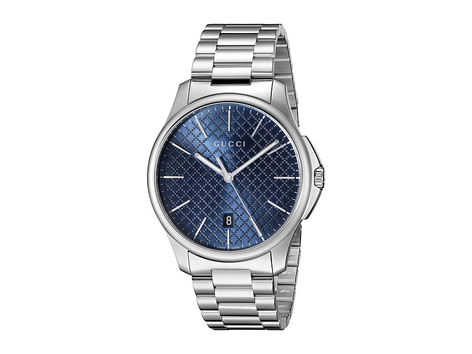 Gucci - G-Timeless Large Blue Dial Steel Bracelet (Steel/Blue) Watches