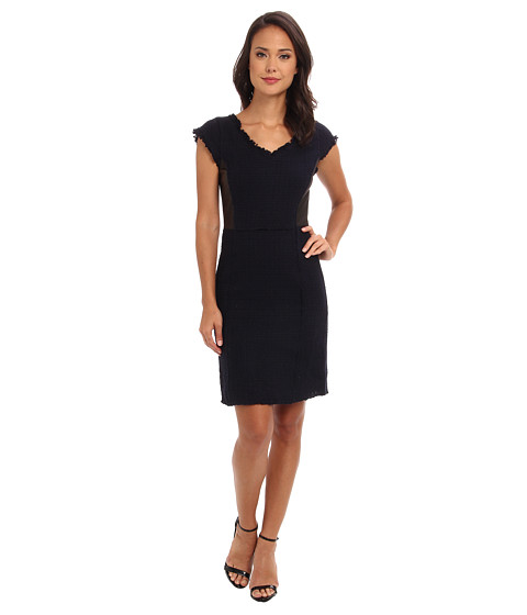 Shop Rebecca Taylor online and buy Rebecca Taylor Tweed Leather Shift Navy Online - Rebecca Taylor - Tweed Leather Shift (Navy) - Apparel: The prefect dress for both work and cocktails. ; Cap sleeve shift dress creates a slimming silhouette. ; Soft, tri-blend tweed. ; Side panels crafted in genuine lamb leather. ; V-neckline. ; Unfinished trim on neckline and cuffs. ; Leather-lined exposed back zipper. ; Straight hem. ; 60% cotton, 33% polyester, 7% wool; Combo: 100% lamb leather; Lining: 100% polyester. ; Dry clean only. ; Imported. Measurements: ; Length: 37 in ; Product measurements were taken using size 4. Please note that measurements may vary by size.