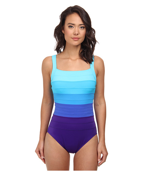 Miraclesuit - Spectra Band-it Square Neck Swimsuit (Ultra Violet/Multi) Women's Swimsuits One Piece