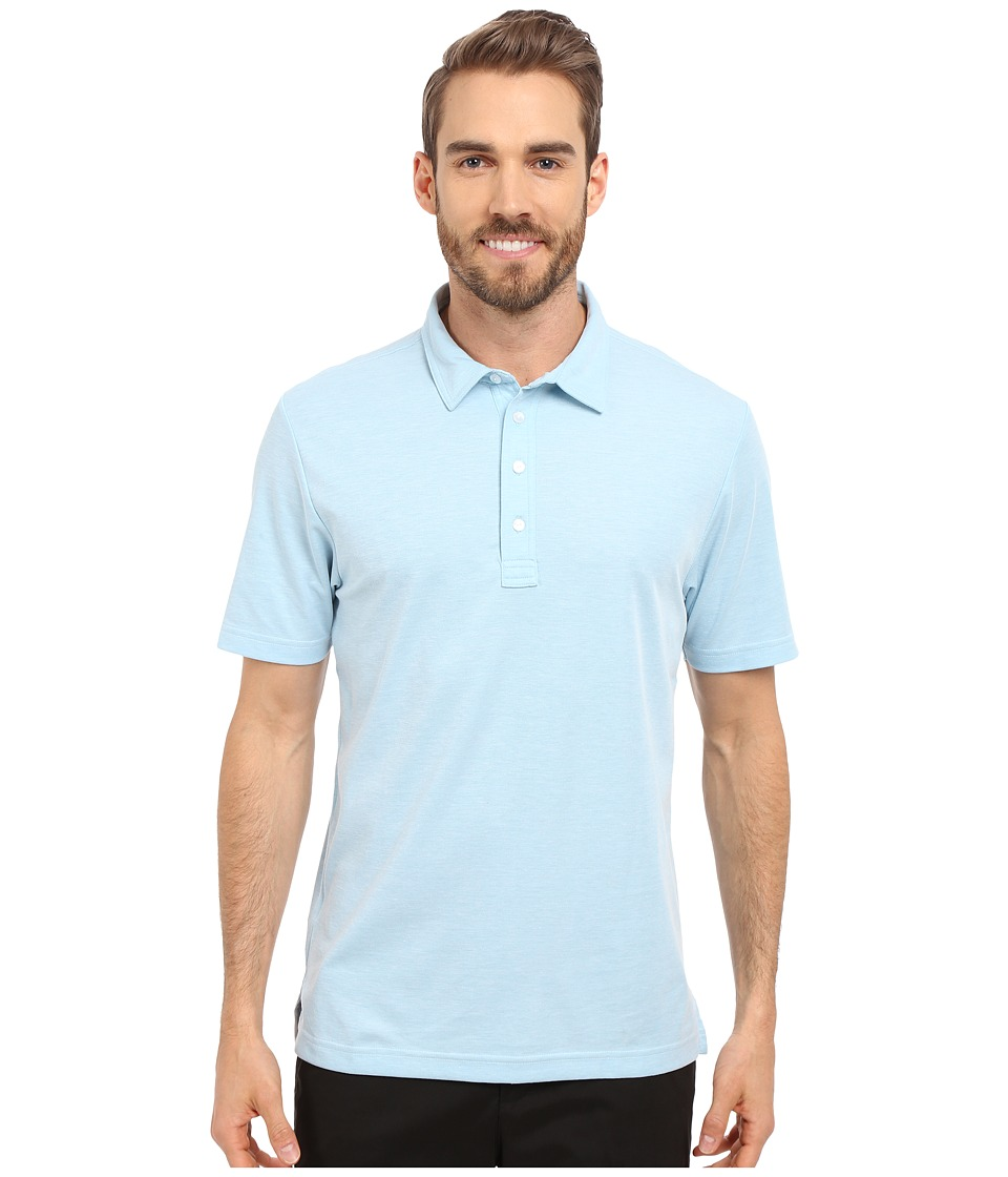 TravisMathew Crenshaw S/S Polo Heather Sky Blue Mens Short Sleeve Knit