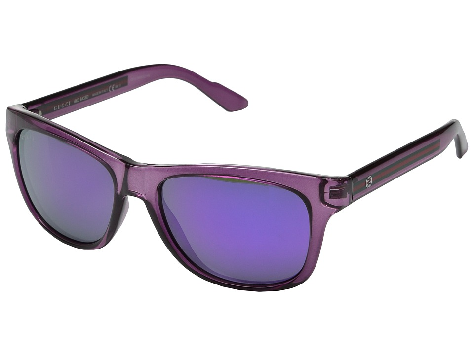 Gucci GG 3709/S Transparent Plum/Black Mirror Fashion Sunglasses