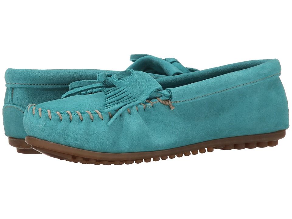 Minnetonka Kilty Moc Turquoise Suede Womens Shoes