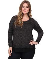 DKNY Jeans - Plus Size Mix Media V-Neck Top
