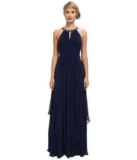 Donna Morgan Siena Beaded Halter Long Gown