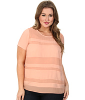 DKNYC - Plus Size Chiffon Striped Blouse