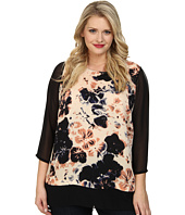 DKNYC - Plus Size Lightweight Satin Printed Blouse