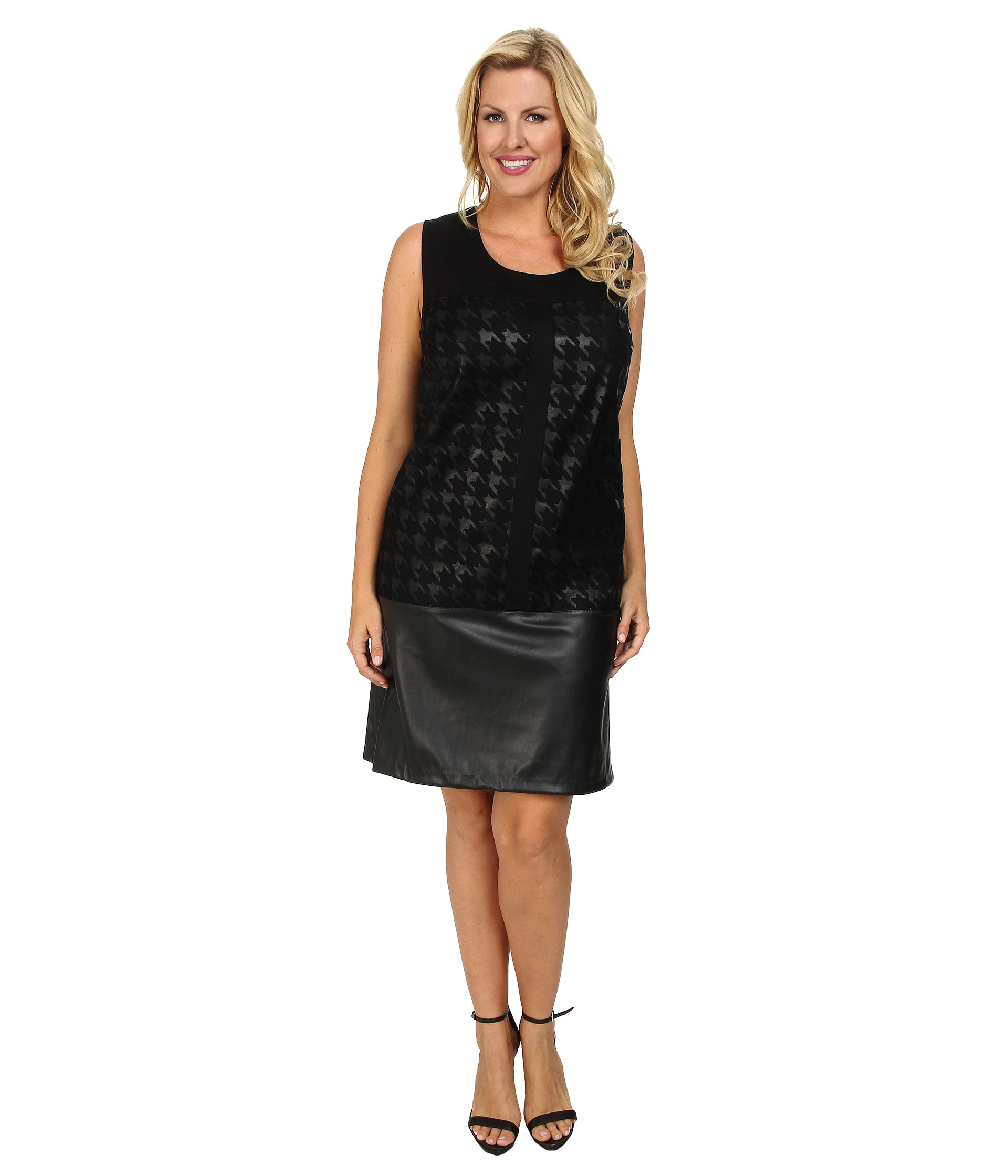 Dknyc Plus Size Faux Leather Ponte Pieced Dress Black | Shipped Free At Zappos