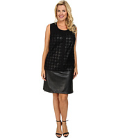 DKNYC - Plus Size Faux Leather Ponte Pieced Dress