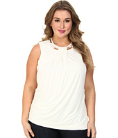 DKNYC - Plus Size S/S Embellished Neck Drape Front Top