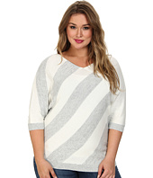 DKNYC - Plus Size Triangle Striped Pullover