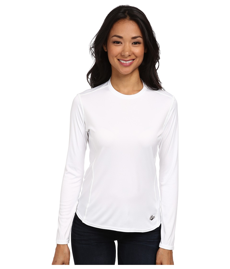 Hot Chillys Peach Solid Crewneck White Womens Long Sleeve Pullover