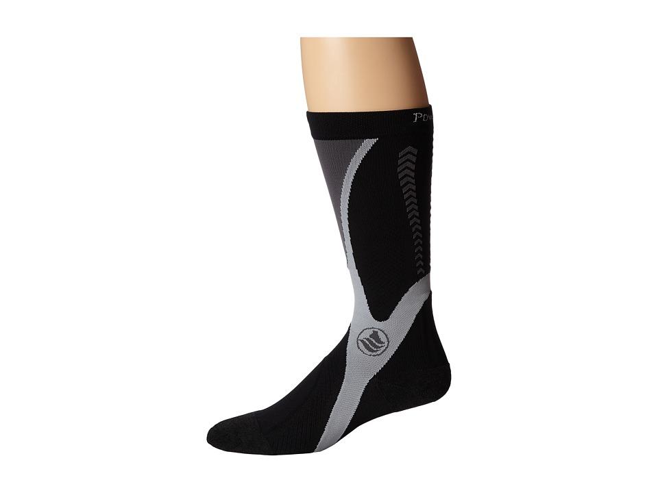 Powerstep Recovery Compression Socks Black/Gray Mens Knee High Socks Shoes
