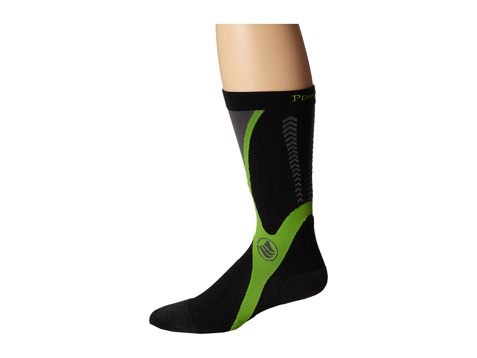 Powerstep Recovery Compression Socks Black/Green Mens Knee High Socks Shoes