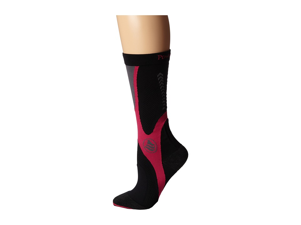 Powerstep Recovery Compression Socks Black/Pink Womens Knee High Socks Shoes