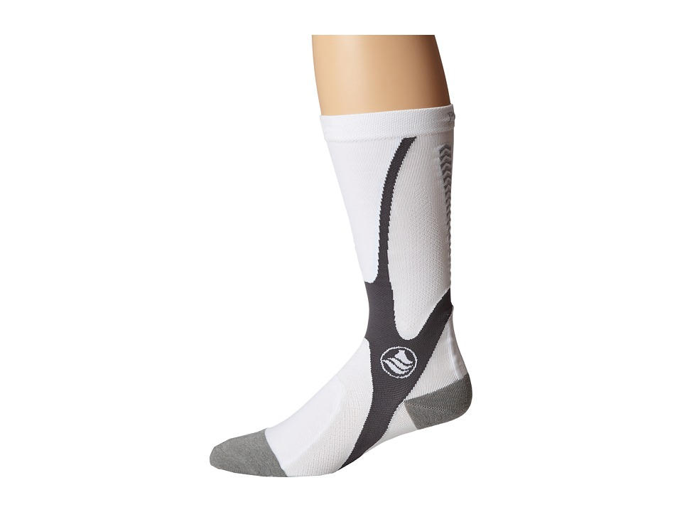 Powerstep Recovery Compression Socks White/Gray Mens Knee High Socks Shoes