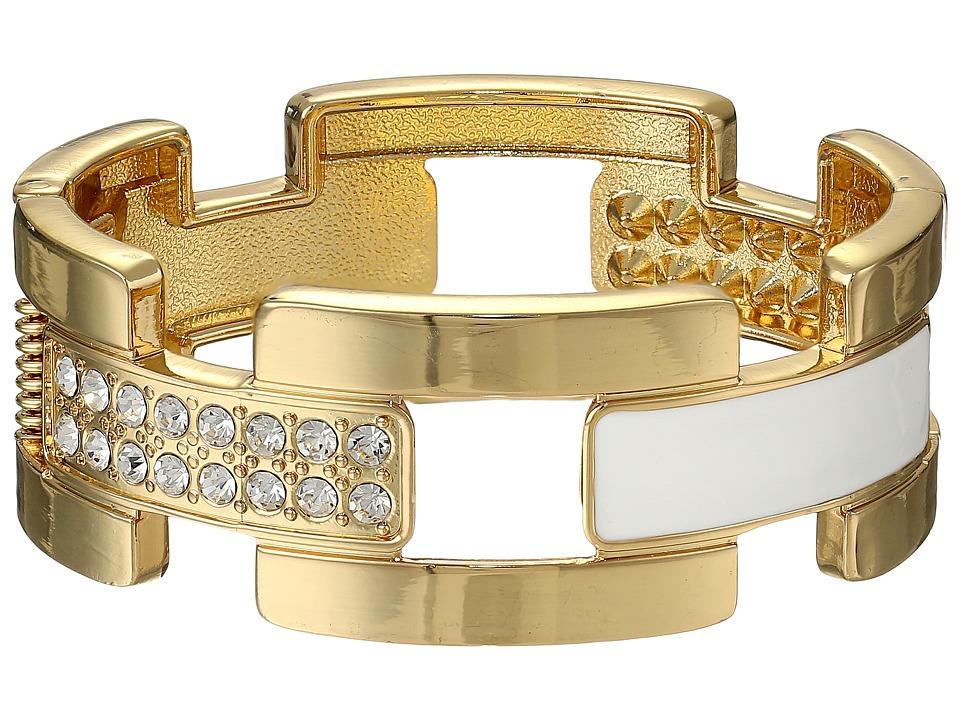 GUESS - Wide Cuff Link Bracelet (Gold/White) Bracelet