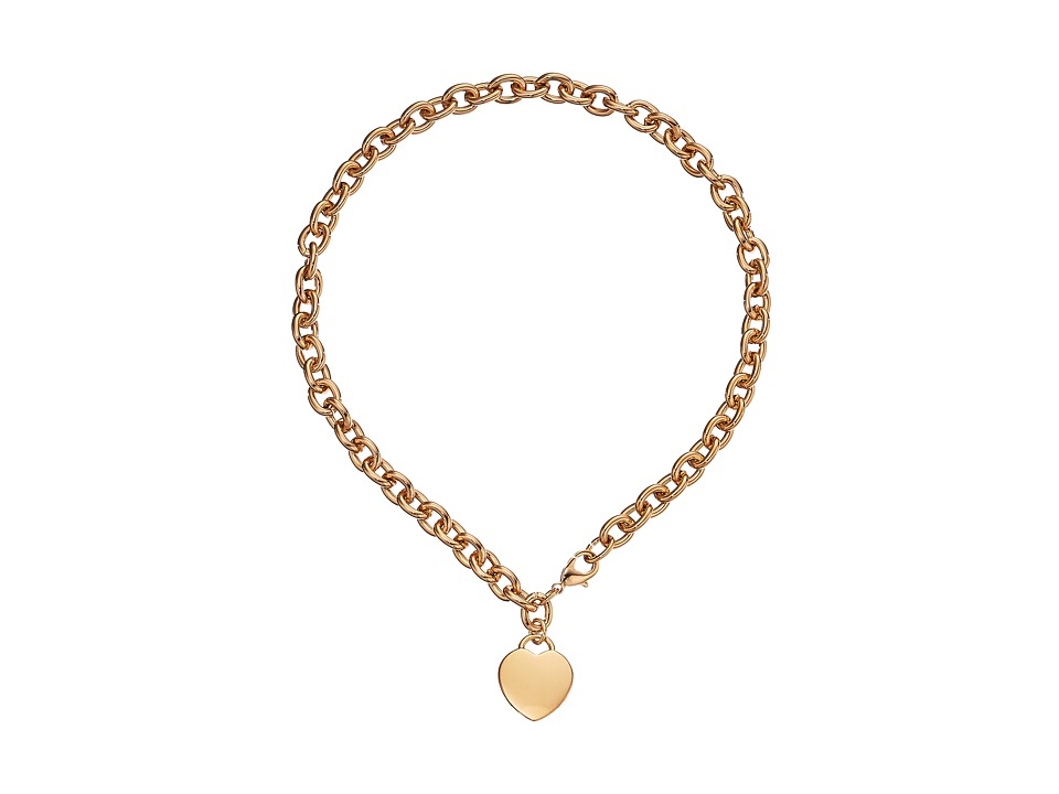 GUESS - Logo Heart Charm Necklace (Gold) Necklace