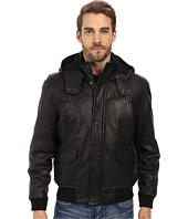 Andrew Marc x Richard Chai - Jaiden Italian Double Washed Hooded Leather Jacket