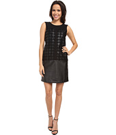 DKNYC - Faux Leather and Ponte Pieced Dress