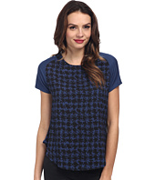 DKNYC - Abstract Houndstooth Crepe De Chine Printed Front Tee