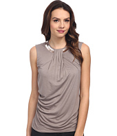 DKNYC - Embelished Neck Drape Front Top