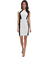 DKNYC - Ponte and Small Scale Faux Leather Snake Pieced Dress